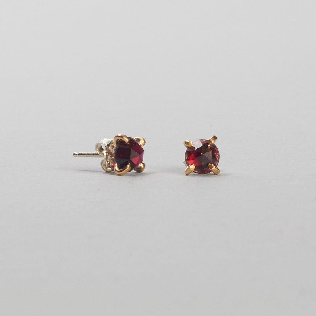 Rose Cut Garnet Stud Earrings