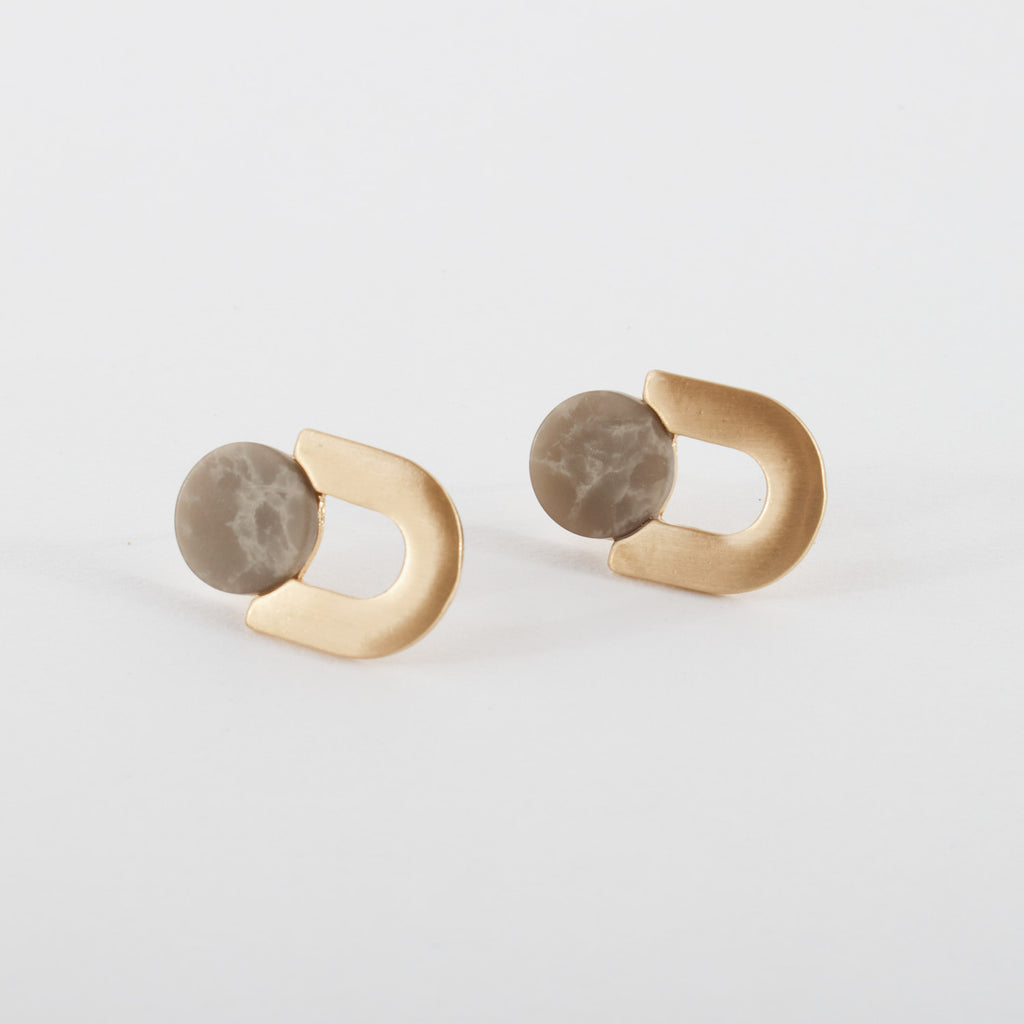 Grey Marble Stud Earring