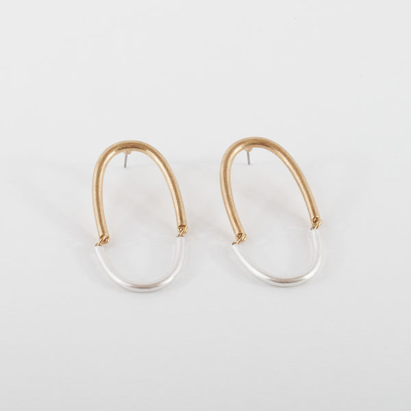 Matte Brass and Silver Arch Earrings