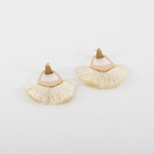 Ivory and Brass Floss Earrings