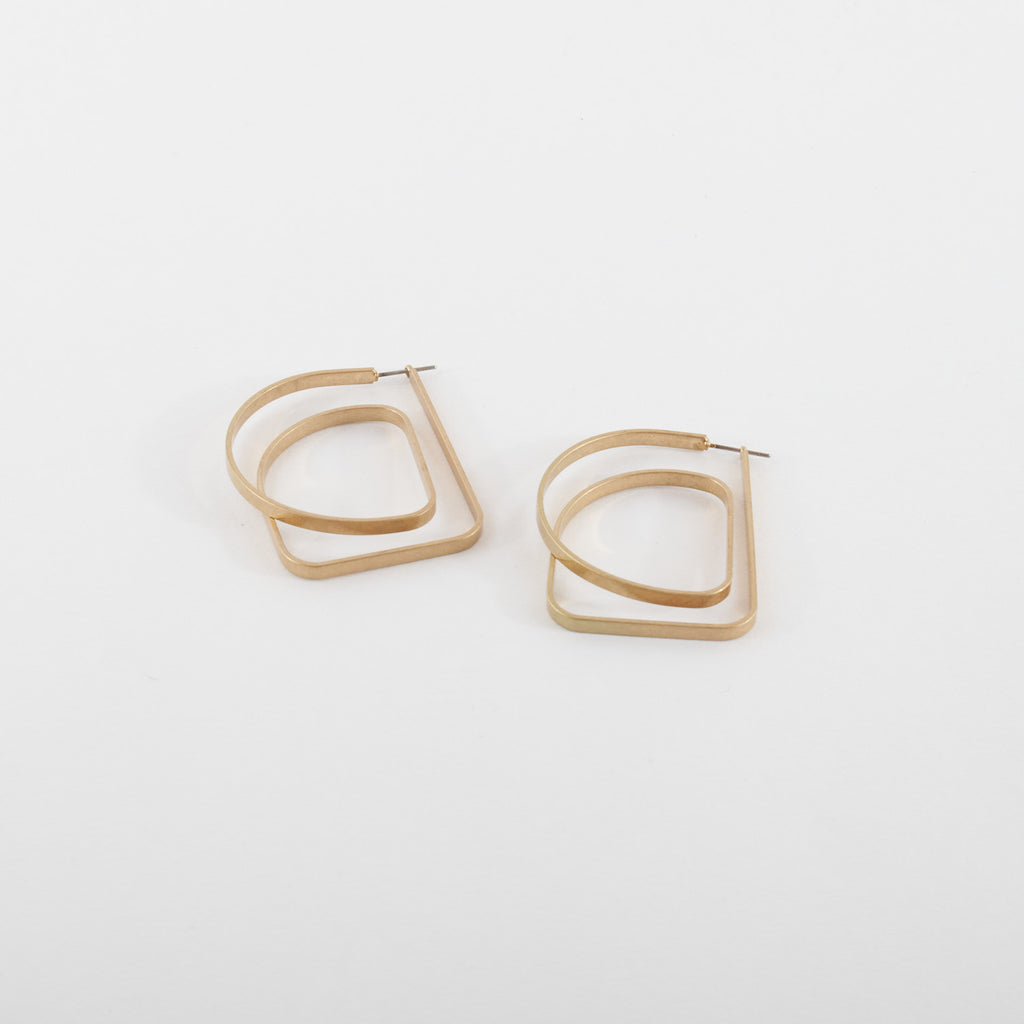 Continuous Line Brass Earrings