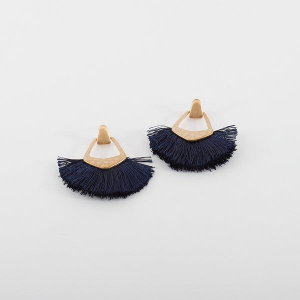 Navy and Brass Floss Earrings