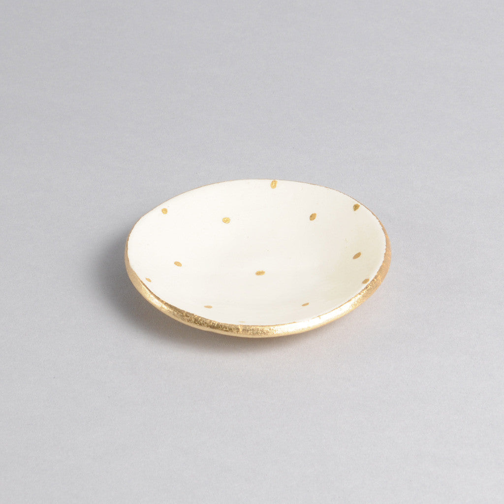 Ring Dish - White and Gold Dot