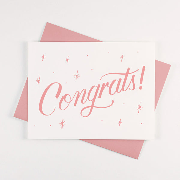 Pink Congrats Card - QTY: 6