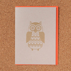 Gold Letterpress - Owl Card
