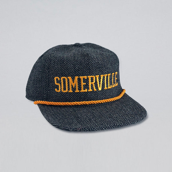 SOMERVILLE DARK GREY HERRINGBONE FLANNEL HAT