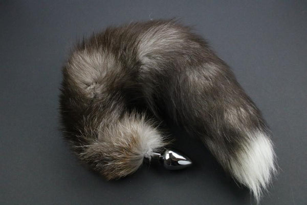 Pre-made Ready to Ship Real Fur Fox Tail with Medium Metal Butt Plug (15)