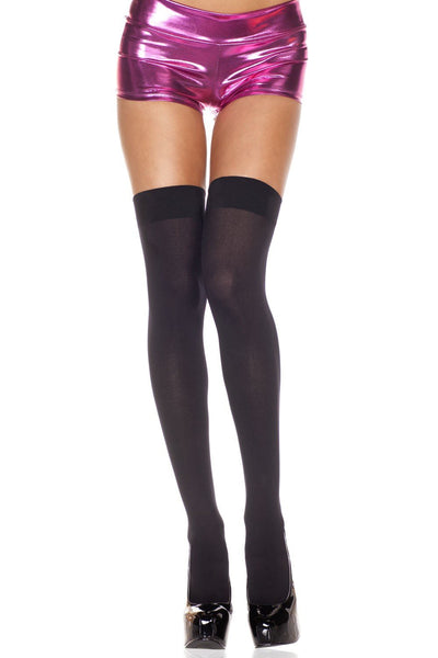 Opaque Black Thigh High Stockings