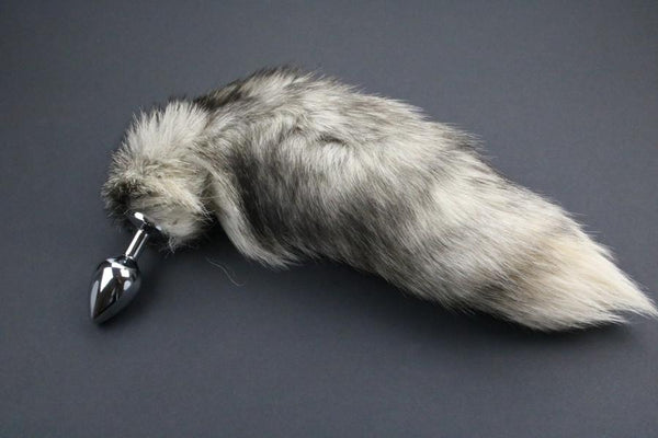 Pre-made Ready to Ship Real Fur Fox Tail with Medium Metal Butt Plug (55)