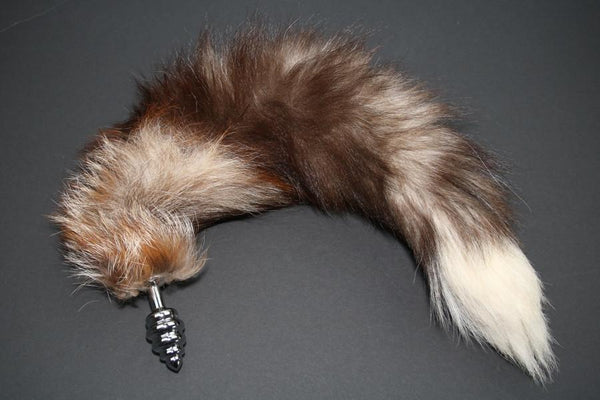 Pre-made Ready to Ship Real Fur Fox Tail with Small Ribbed Metal Butt Plug (63)