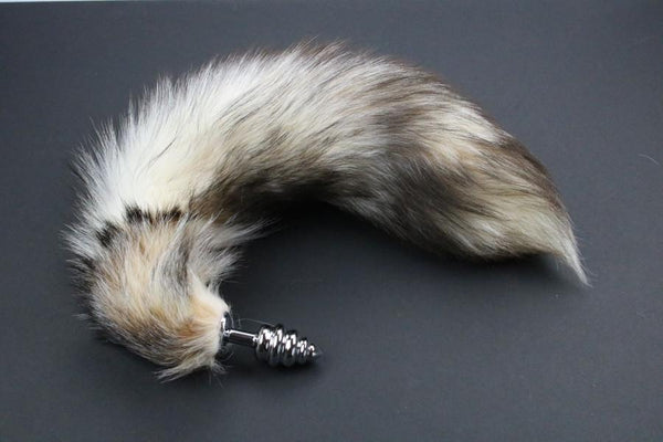 Pre-made Ready to Ship Real Fur Fox Tail with Small Ribbed Metal Butt Plug (66)