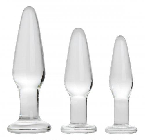 Glass Anal Butt Plug Training Kit 3 Piece