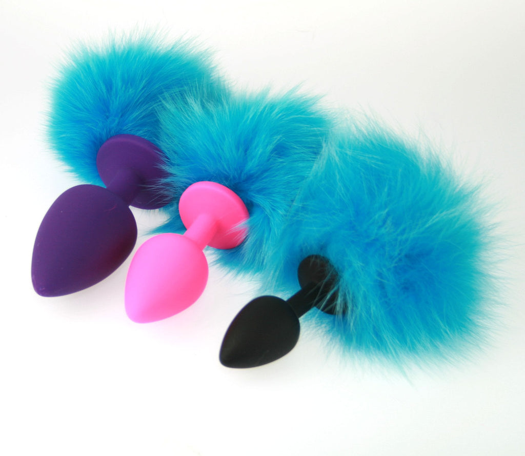 Soft and Sexy Real Rabbit Real Fur Bunny Tail Silicone Butt Plugs (ST)