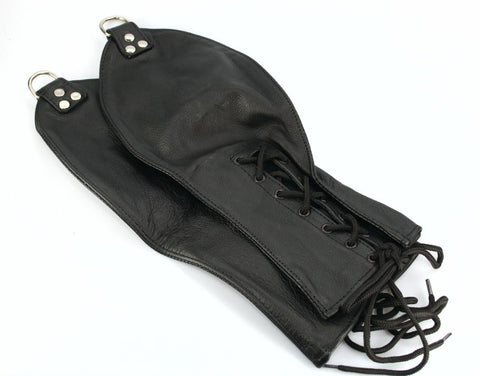 Lace Up Leather Mitt Restraints