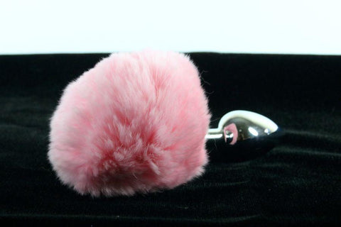 Soft and Sexy Real Fur Baby PINK Bunny Tail Butt Plug