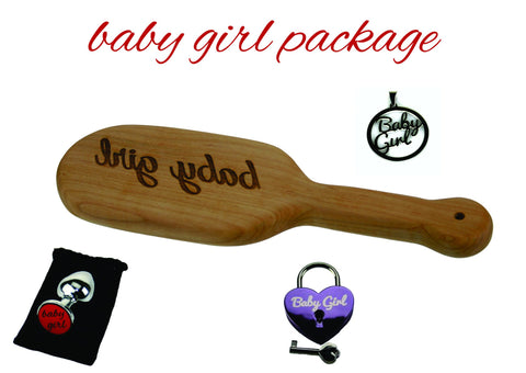 Baby Girl Toy Package (Spanking Paddle, Butt Plug, Lock and Pendant)