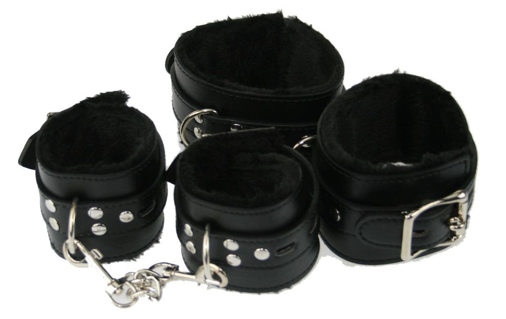 Black PVC Fur-lined Wrist and Ankle Restraints with Locking Buckle (Style 4)