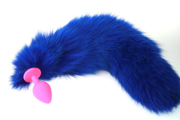 Sleek Bright Blue Real Fur Tail Butt Plug with Silicone Plug (ST)