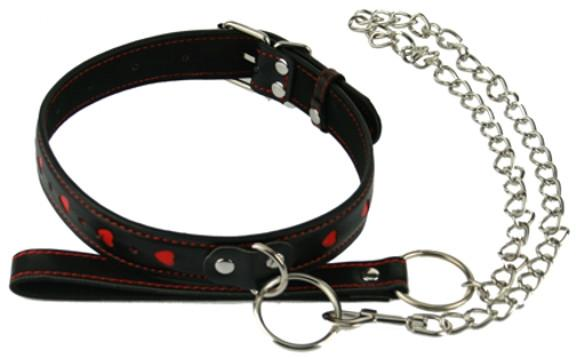 Black with Red Hearts PVC Collar and Leash (Style 6)