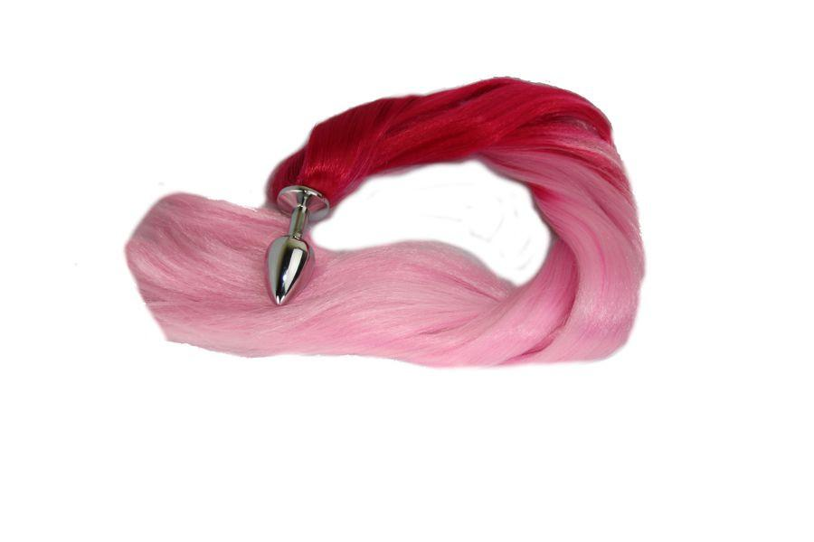 Cotton Candy Pony Tail Butt Plug Synthetic Tail (3)