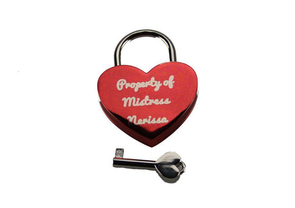 Custom Engraved Heart Lock With Key For Chastity Play Or -4619