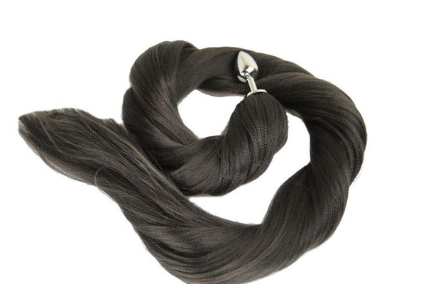 XL Ebony Pony Tail Butt Plug Synthetic Tail (43)