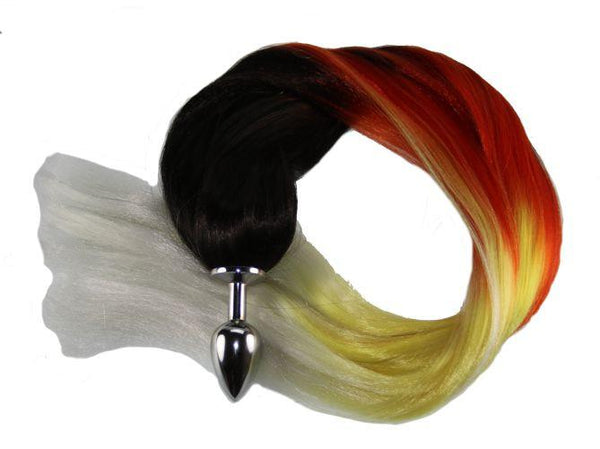 "24"" Fire and Ice Pony Tail Butt Plug Synthetic Tail (8)"