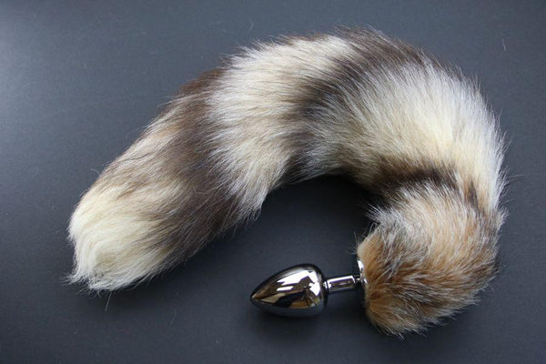 Pre-made Ready to Ship Real Fur Fox Tail with Large Metal Butt Plug (10)