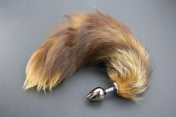 Pre-made Ready to Ship Real Fur Fox Tail with Medium Metal Butt Plug (14)