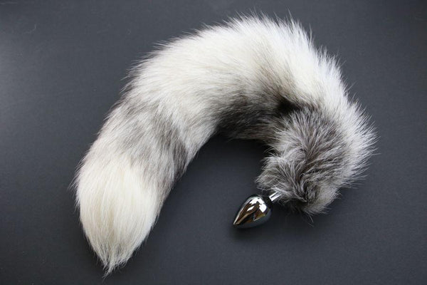 Pre-made Ready to Ship Real Fur Fox Tail with Medium Metal Butt Plug (25)