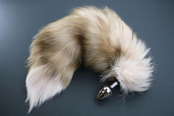 Pre-made Ready to Ship Real Fur Fox Tail with Medium Metal Butt Plug (40)