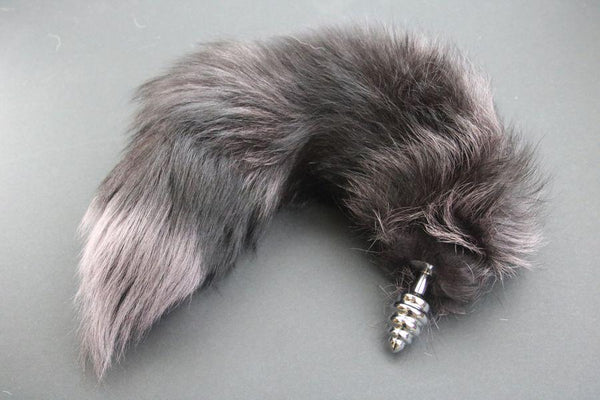 Pre-made Ready to Ship Real Fur Fox Tail with Small Ribbed Metal Butt Plug (46)