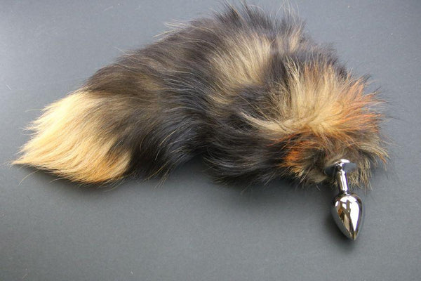 Pre-made Ready to Ship Real Fur Fox Tail with Medium Metal Butt Plug (48)