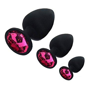 Black Silicone Tulip Jewel Butt Plug Training Kit