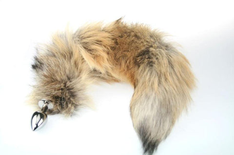 Natural Golden Island Fox Tail Butt Plug Real Fur