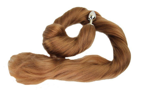 XL Golden Moon Pony Tail Butt Plug Synthetic Tail (39)