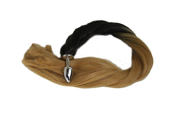 Golden Pony Tail Butt Plug Synthetic Tail (5)