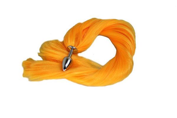 Goldenrod Pony Tail Butt Plug Synthetic Tail (27)