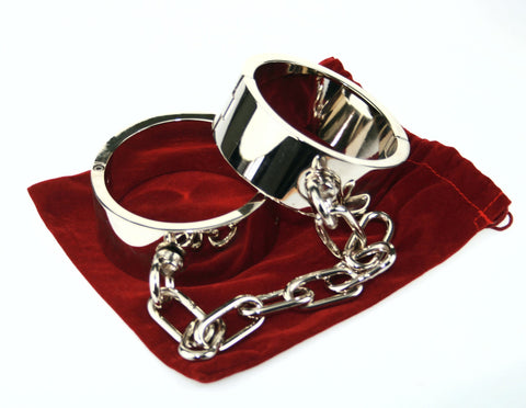 Heavy Steel Ankle Shackles Restraints with Chain (Style 4)
