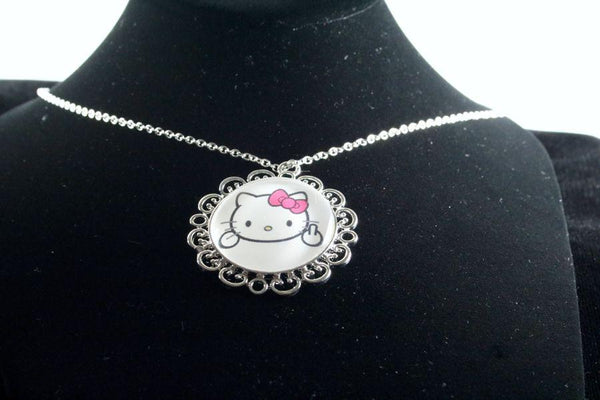 Custom Kitty Flower Pendant Silver Finish