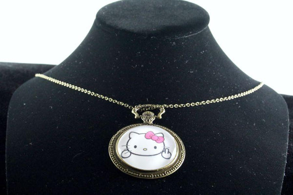 Custom Kitty Watch Pendant Brass Finish