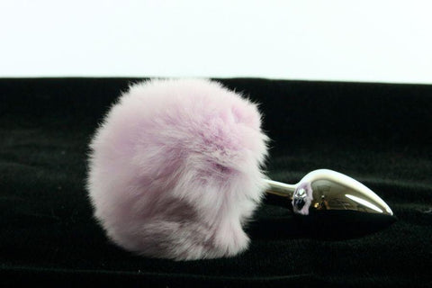 Soft and Sexy Real Fur LAVENDER Bunny Tail Butt Plug