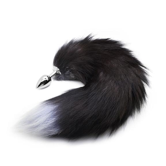 Black and Lavender Fox Tail Butt Plug Real Fur
