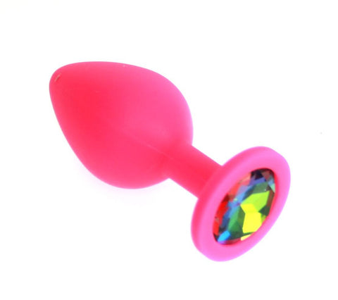Medium Pink Silicone Jewel Butt Plug