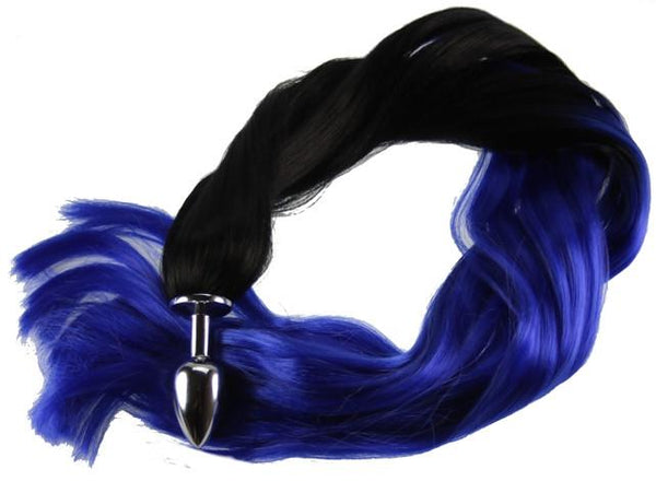 "24"" Midnight Pony Tail Butt Plug Synthetic Tail (11)"