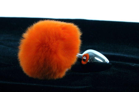Soft and Sexy Real Fur ORANGE Bunny Tail Butt Plug