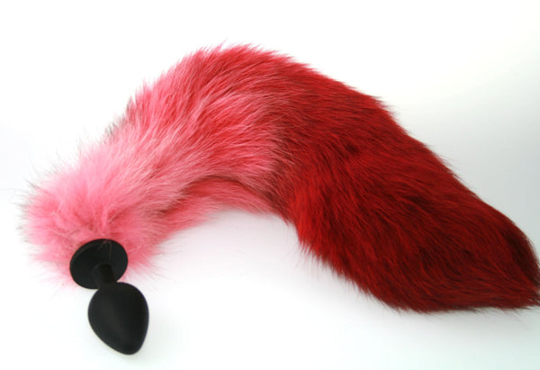 Sleek Pink & Red Real Fur Tail with Silicone Butt Plug (ST)