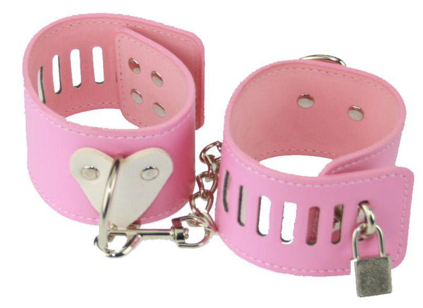 Pink PVC Heart Ankle Restraints (Style 3)