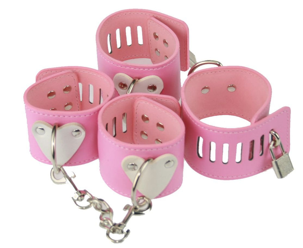 Pink PVC Heart Restraints Set (Style 3) OVERSTOCK