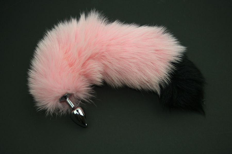 Baby Pink with Black Tip Fox Tail Butt Plug Real Fur